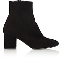 Barneys New York Women's Cap Toe Suede Ankle Boots Black