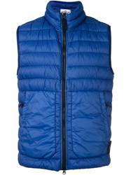 Stone Island High Neck Quilted Gilet Blue