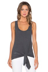 Monrow Granite Novelty Tie Front Tank Charcoal