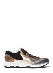Lanvin Metallic Leather Panelled Running Sneakers Black
