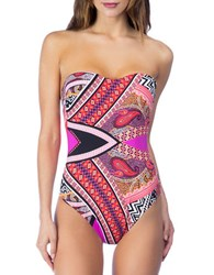 Kenneth Cole Without Borders One Piece Bandeau Swimsuit Lipstick