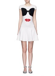 Alice Olivia 'Stacey's Face' Intarsia Crystal Embellished Knit Dress White