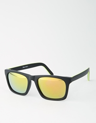 Asos Flat Brow Sunglasses With Fluro Tipping Black