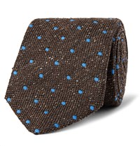 Dunhill 8Cm Polka Dot Wool And Silk Blend Tie Brown