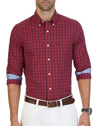 Nautica Classic Fit Wrinkle Resistant Marine Plaid Shirt Nautical Red