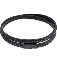 Ted Baker Studded Leather Double Wrap Bracelet Black