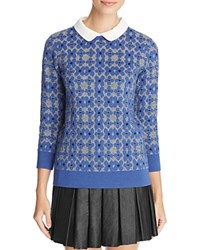 Finity Floral Jacquard Sweater Blue Combo