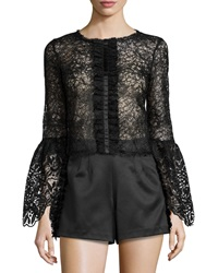 Alexis Mark Long Sleeve Lace Top Black