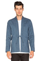 Naked And Famous Kimono Shirt Indigo Speckle Dye Basketweave Blue