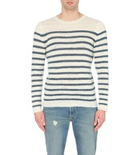 The Elder Statesman Striped Cashmere Jumper White Denim