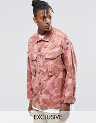 Reclaimed Vintage Camo Over Shirt In Over Dye In Regular Fit Pink