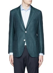 Tomorrowland Loro Piana Wool Silk Linen Tweed Blazer Green