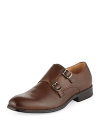 Neiman Marcus Logan Double Monk Leather Loafer Tobacco