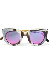 Illesteva Boca Ii Cat Eye Acetate Mirrored Sunglasses Black