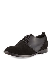 Cnc Costume National Suede And Leather Lace Up Oxford Black