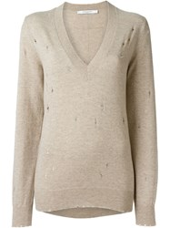 Givenchy Distressed V Neck Sweater Nude And Neutrals