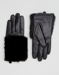 Asos Leather And Faux Fur Mix Gloves With Touch Screen Black