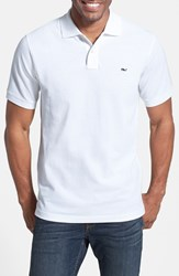 Men's Vineyard Vines 'Classic' Pique Knit Polo White Cap