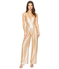 Rachel Antonoff Stacy Plunge Jumpsuit Champagne Shimmer Women's Jumpsuit And Rompers One Piece Beige