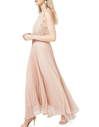 Miss Selfridge Embellished Lace Plisse Gown Pink