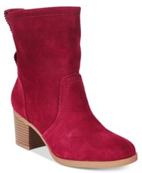 White Mountain Behari Block Heel Slouchy Booties Women's Shoes Burgundy