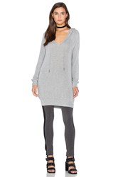 Bobi Draped Rib Long Sleeve V Neck Hoodie Gray