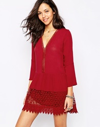 Pullandbear Crochet Hem Bell Sleeve Smock Dress Red