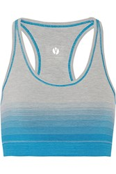 Yummie Tummie Helen Reversible Printed Stretch Jersey Sports Bra Blue