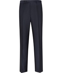 Austin Reed Navy Blue Pinstripe Flat Front Trousers