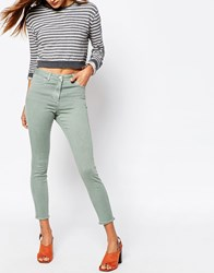 Asos Ankle Length Stretch Skinny Trousers With Raw Hem Green