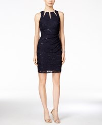 Betsy And Adam Embellished Keyhole Ruched Lace Dress Navy