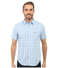 Lacoste Short Sleeve Textured Check Regular Fit Woven Shirt Nattier Blue White Men's Clothing