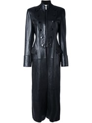 Yves Saint Laurent Vintage Long Leather Coat Black