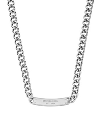 Michael Kors Pave Plaque Silver Tone Chain Link Necklace