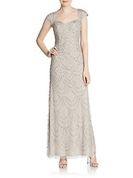 Adrianna Papell Beaded Cap Sleeve Gown Platinum