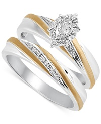 Beautiful Beginnings Diamond Accent Bridal Set In 14K Gold And Sterling Silver