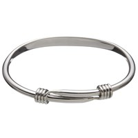 Andea Sterling Silver Oval Slide Open Bangle Silver