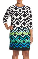 Plus Size Women's Eliza J Geometric Print Shift Dress