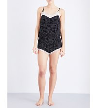 Eberjey Dominique Jersey And Lace Playsuit Black