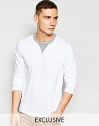 Franklin And Marshall Crew Neck Long Sleeve T Shirt Exclusive To Asos White