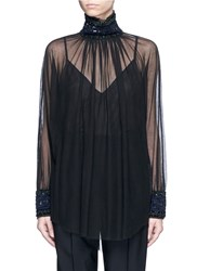 Ms Min Embellished High Collar Tulle Top Black