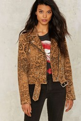 Nasty Gal Collection Cool Cat Leopard Suede Moto Jacket Animal