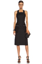 Josh Goot Contast Strap Pencil Cotton Blend Dress In Black