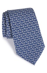 Men's Vineyard Vines Fish Print Silk Tie Vineyard Navy