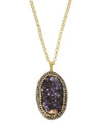 Panacea Druzy Pendant Necklace Purple