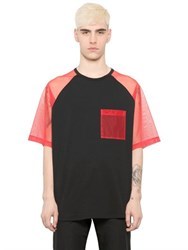 Christopher Kane Tulle Sleeved Cotton And Viscose T Shirt