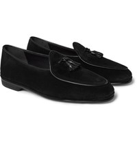 Rubinacci Marphy Leather Trimmed Suede Loafers Black