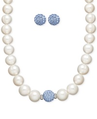 Honora Style Cultured Freshwater Pearl 7Mm And Blue Crystal Stud Jewelry Set In Sterling Silver
