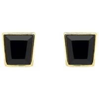 Monet Square Cut Crystal Stud Earrings Gold Black