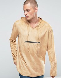 Liquor And Poker Faux Suede Hooded Sweater Beige